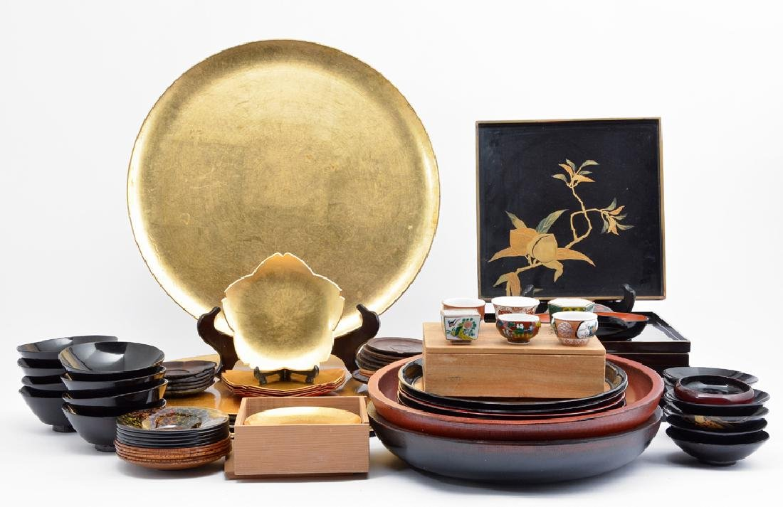 Large group of Japanese lacquerware
