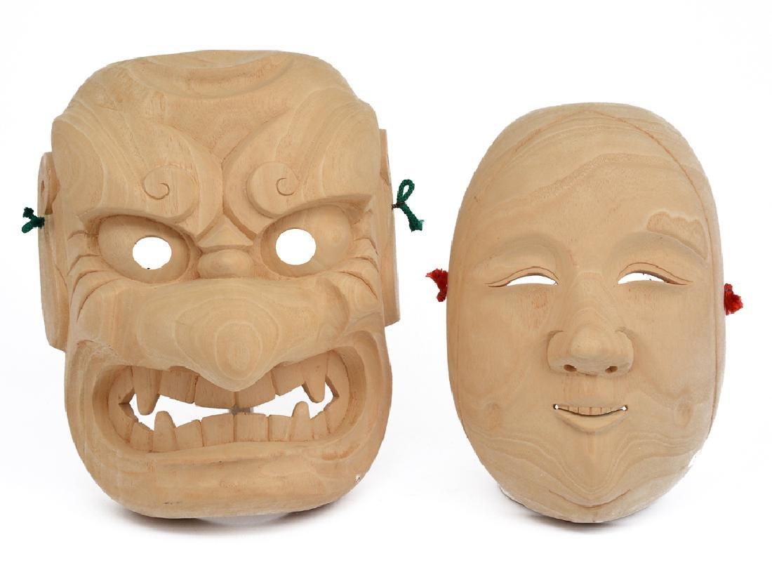 2 Japanese Kabuki wood masks