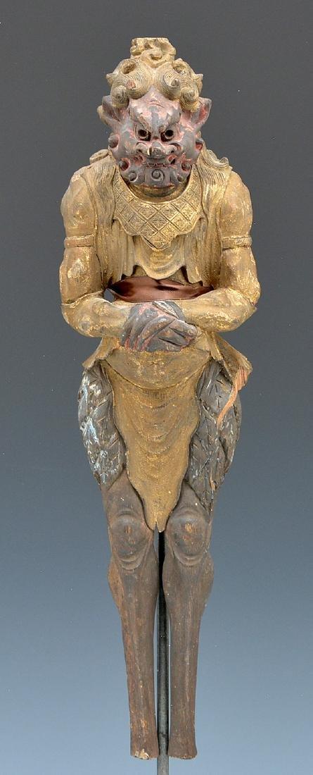 Gilt metal and wood figure of a demon (oni)