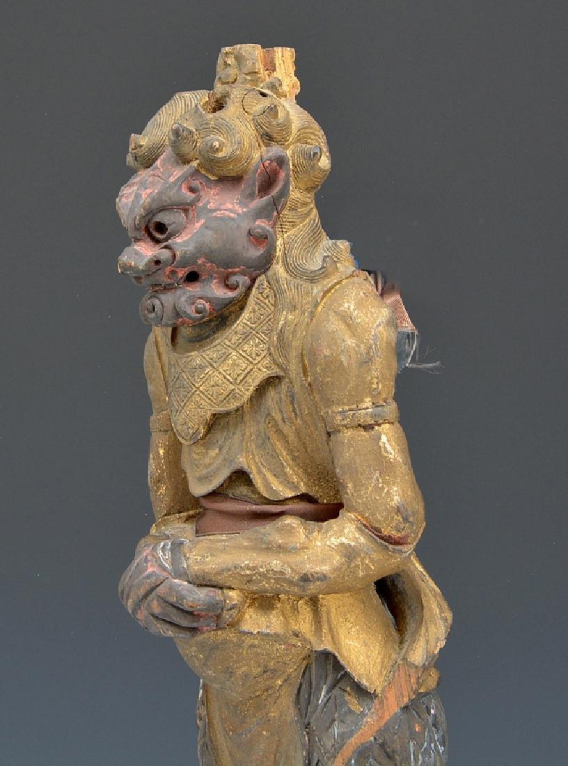 Gilt metal and wood figure of a demon (oni) - 2