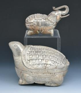 2 Indian animal form silver boxes,  India, 19th/20th c