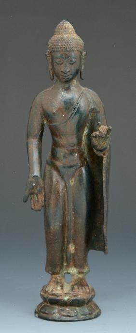 "Asian cast bronze figure of the Buddha, 9"""