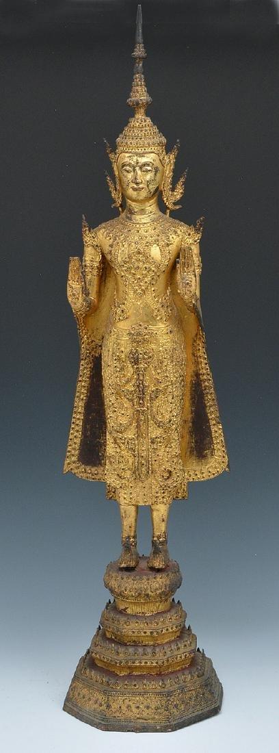 Thai gilt metal Buddha statue