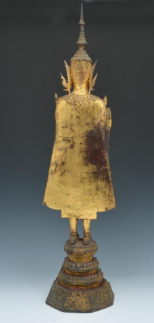 Thai gilt metal Buddha statue - 2