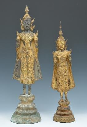 2 Thai gilt metal Buddha statues
