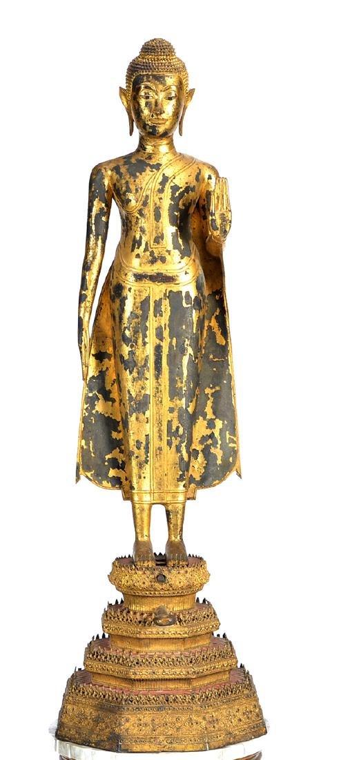 Large Thai gilt bronze Buddha on stand