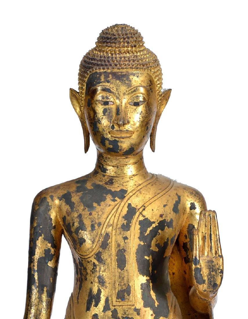 Large Thai gilt bronze Buddha on stand - 2