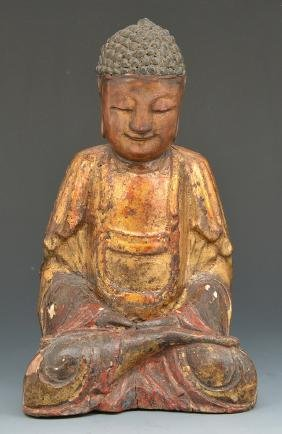Chinese carved gilt and lacquered wood Buddha, Qing