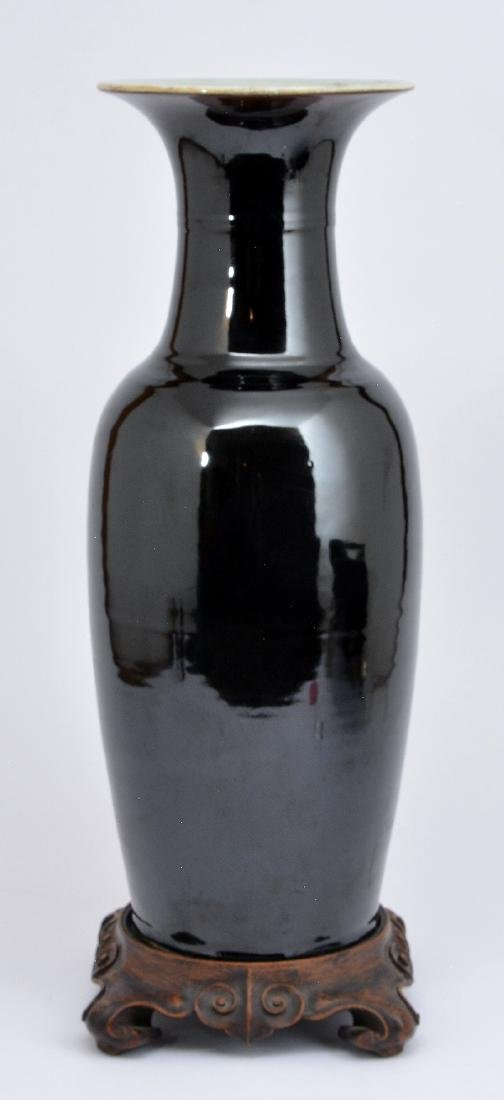 """Chinese Republic period ebony ceramic vase, 21 1/2""""t"""