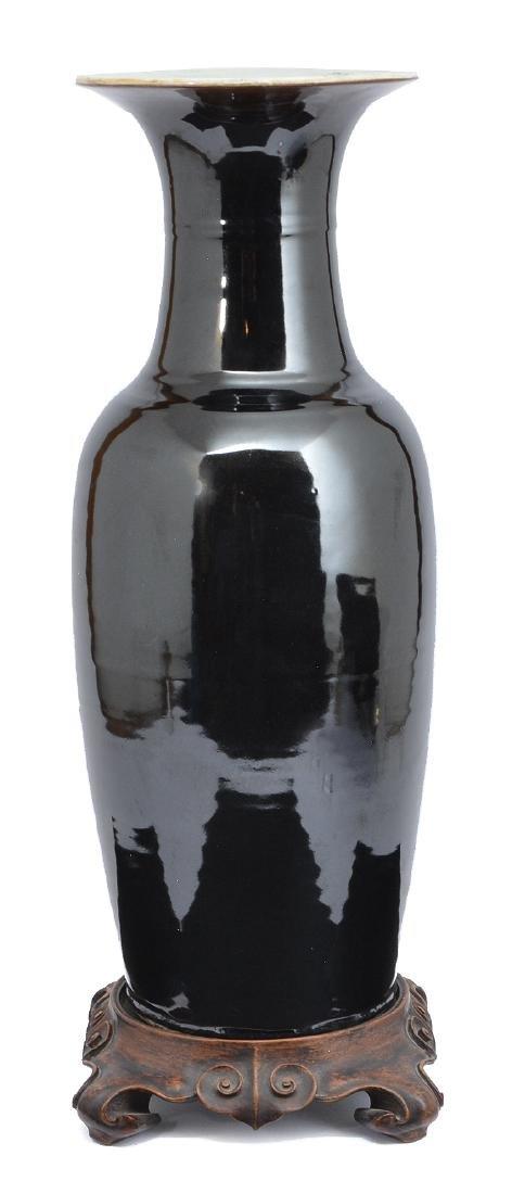 """Chinese Republic period ebony ceramic vase, 21 1/2""""t - 2"""