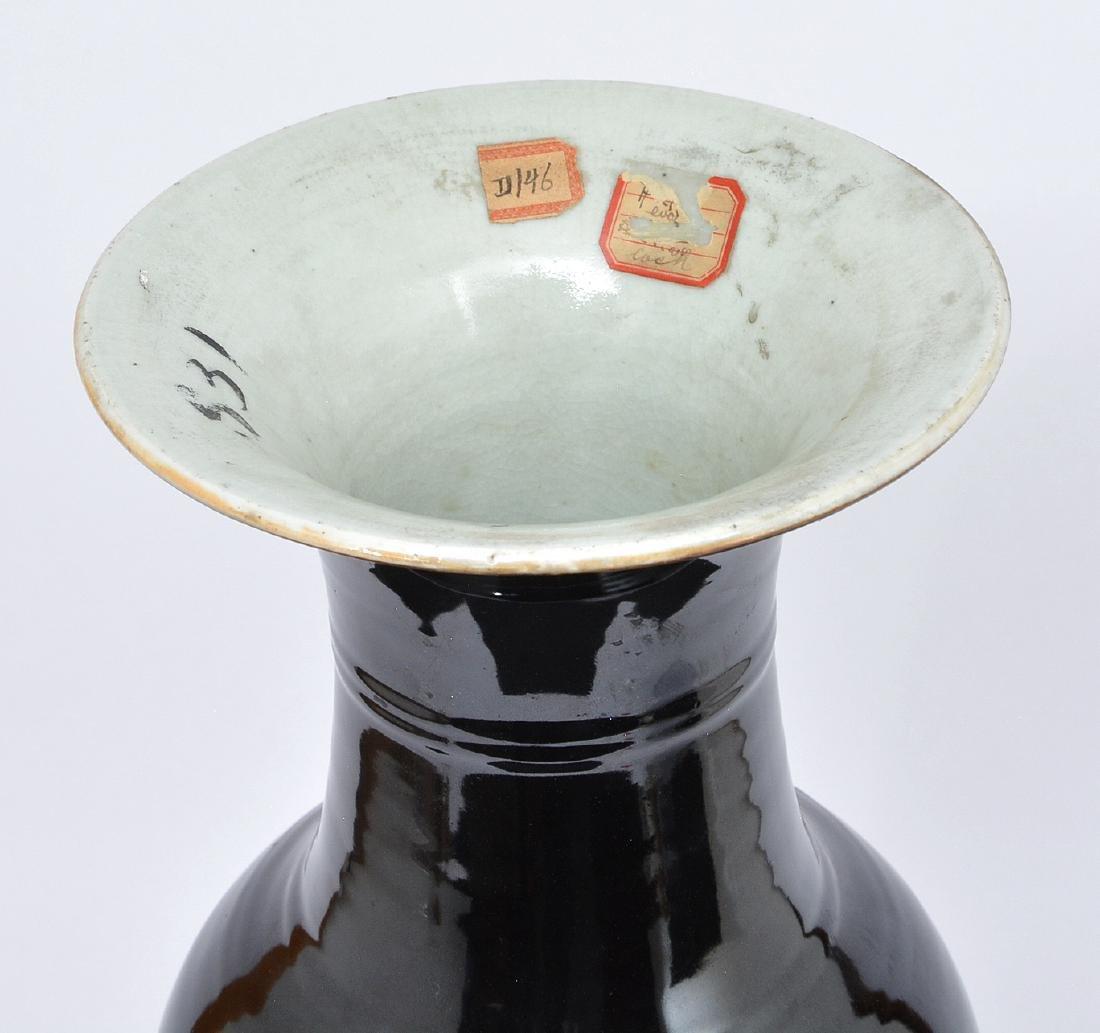 """Chinese Republic period ebony ceramic vase, 21 1/2""""t - 3"""