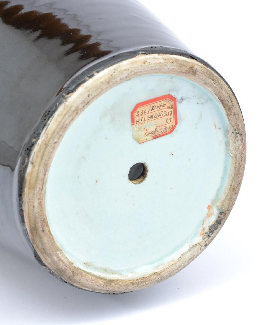 """Chinese Republic period ebony ceramic vase, 21 1/2""""t - 4"""