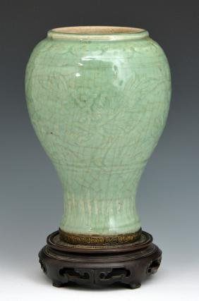 Chinese Celadon baluster vase, 19th c or earlier