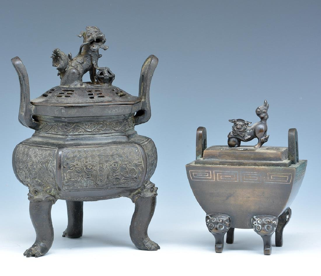 2 Bronze lidded censers
