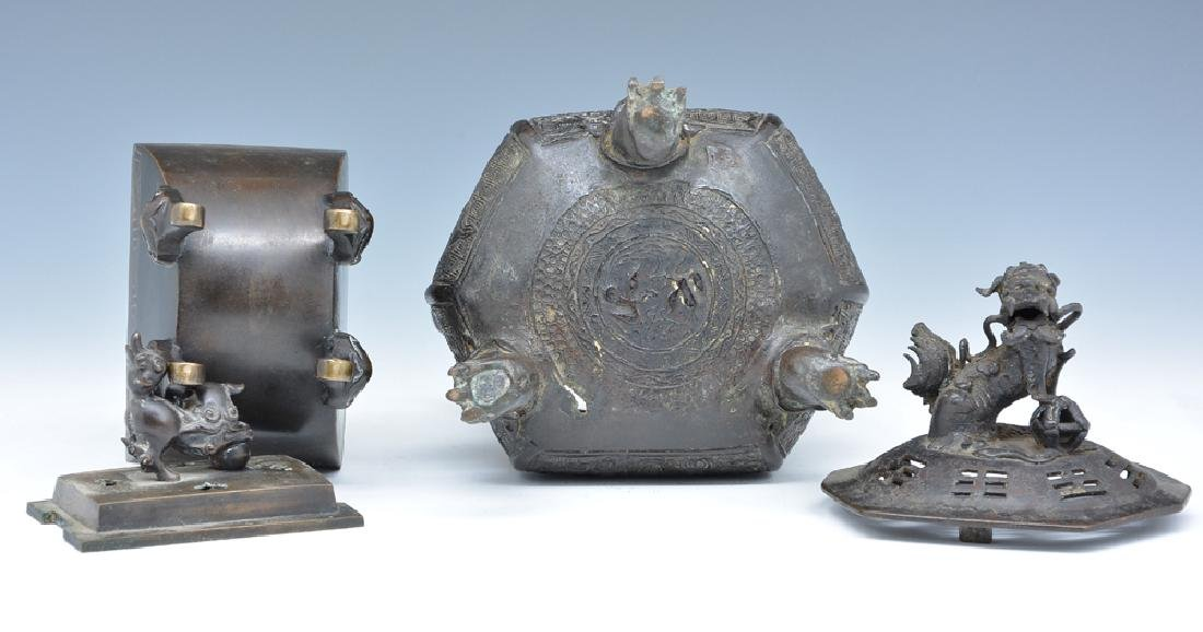2 Bronze lidded censers - 4
