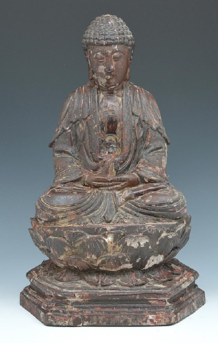 Wood seated Buddha statue