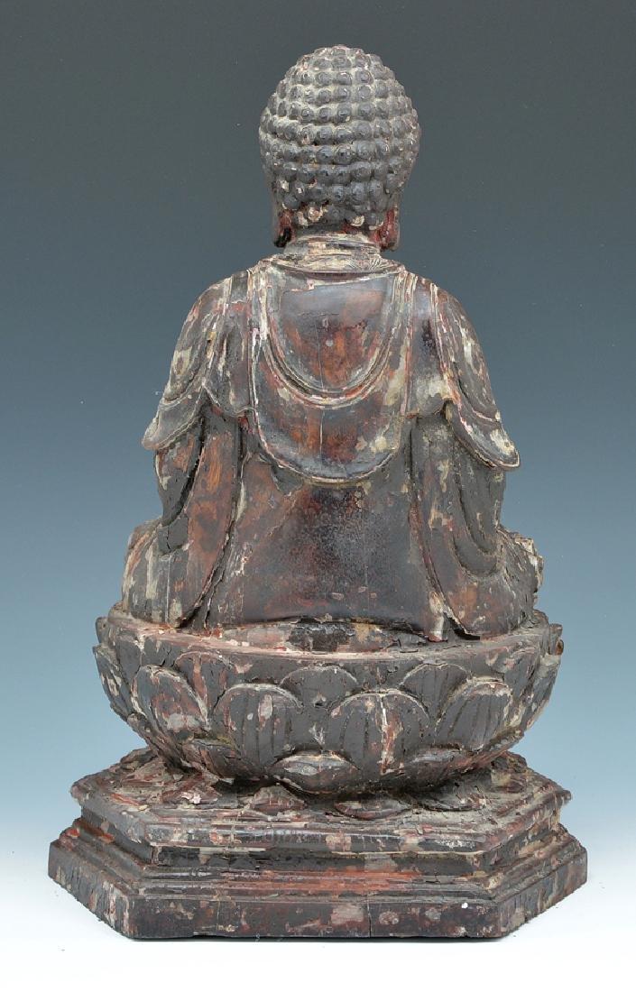 Wood seated Buddha statue - 2
