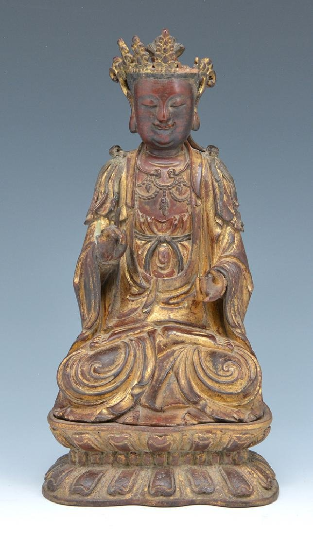 Wood seated Buddha statue