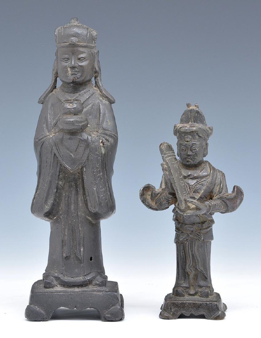 2 Bronze Asian immortals statues