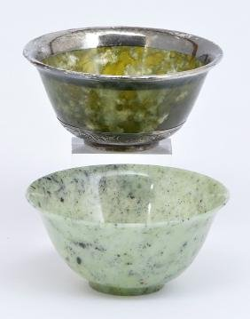 2 Chinese green hardstone bowls, one with silver