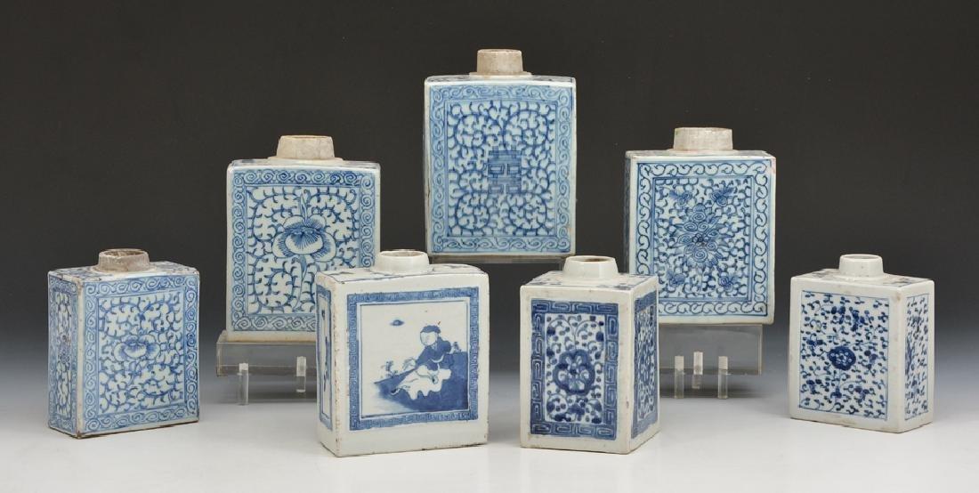 7 Chinese blue and white porcelain rectangular flasks