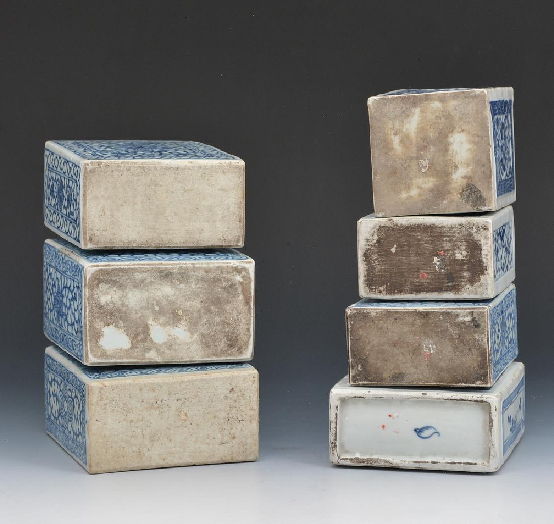 7 Chinese blue and white porcelain rectangular flasks - 2