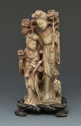 Chinese carved hardstone group on stand