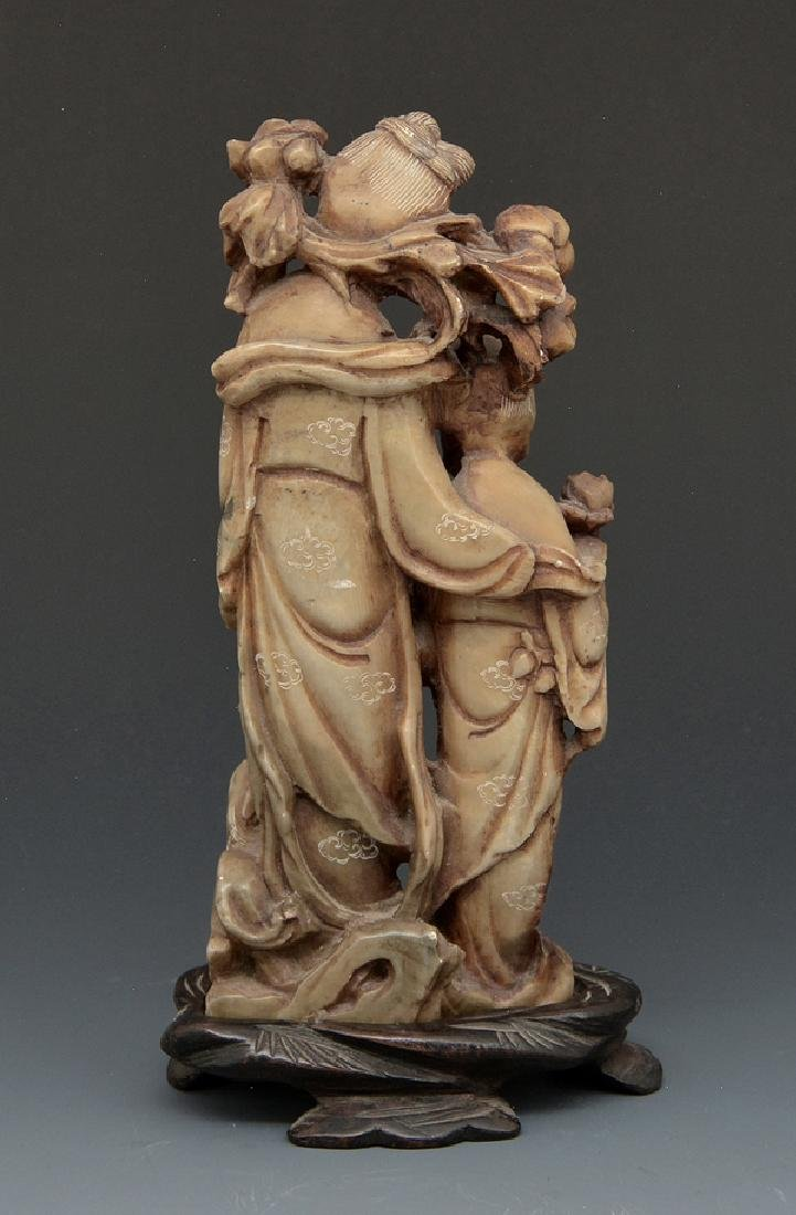 Chinese carved hardstone group on stand - 2