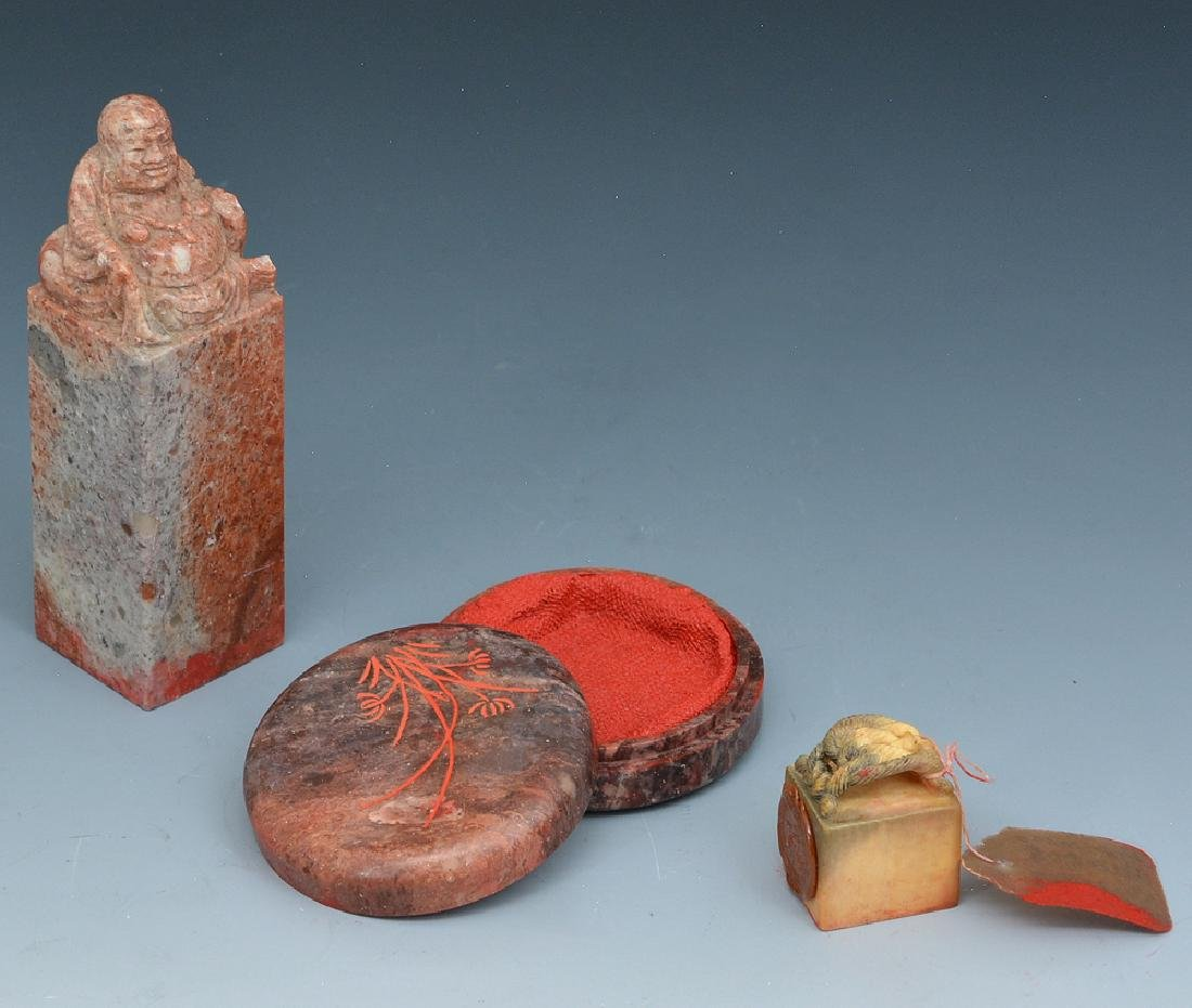 Two Chinese seals and one ink pot - 2