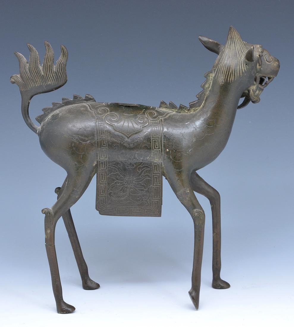 Bronze Qilin (Kirin) censer - 2