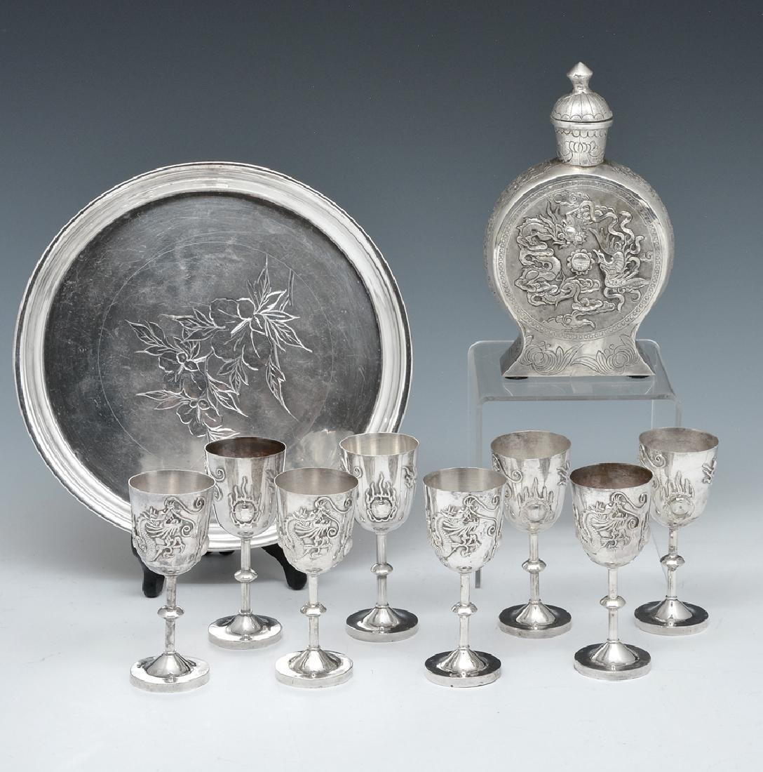 Chinese silver cordial set, 10 pcs