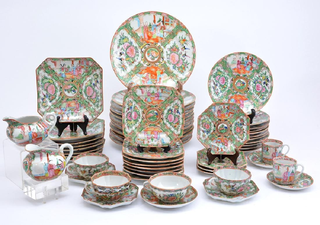 49 pc Chinese Famille Rose Medallion Dinner Service