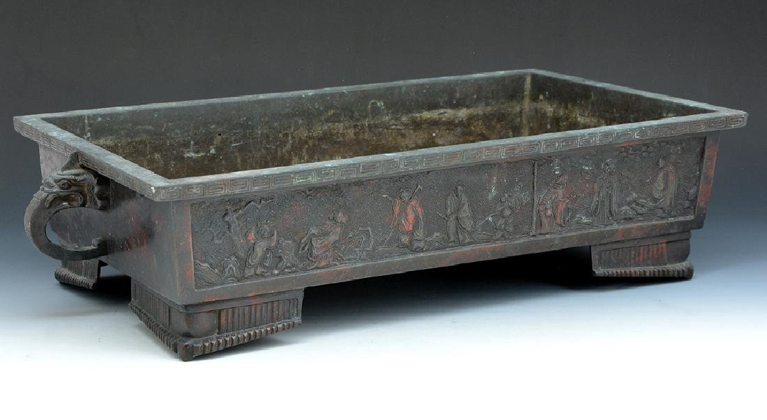 Asian bronze footed planter - 2