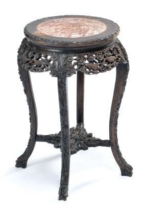 Chinese Carved Stand With Inset Marble