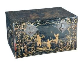 "Chinese black lacquer pigskin trunk, 31"" wide"