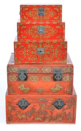 Group of Five Chinese Gilt and Red-Lacquer Pigskin