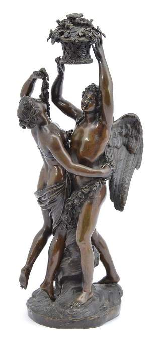 """Bronze angel and woman, 19th c, 19 1/4""""t"""
