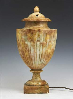 """Marble Urn Lamp, 17 1/2""""t"""