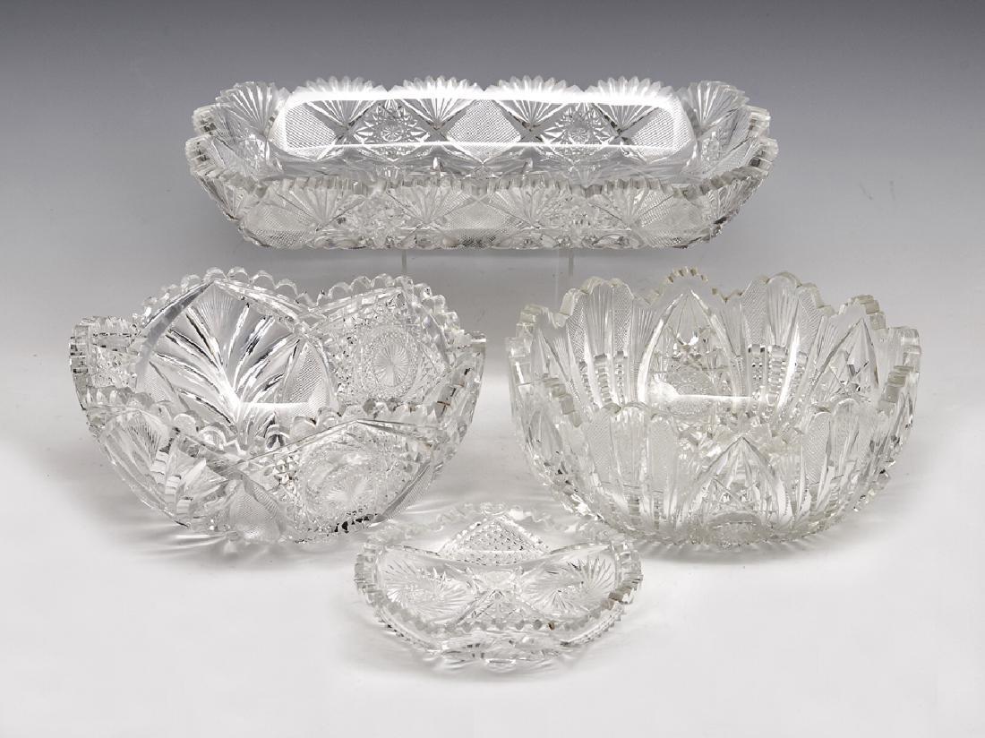 4 Pcs American cut crystal in various patterns