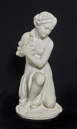 P. Romanelli marble statue, kneeling nude Aphrodite