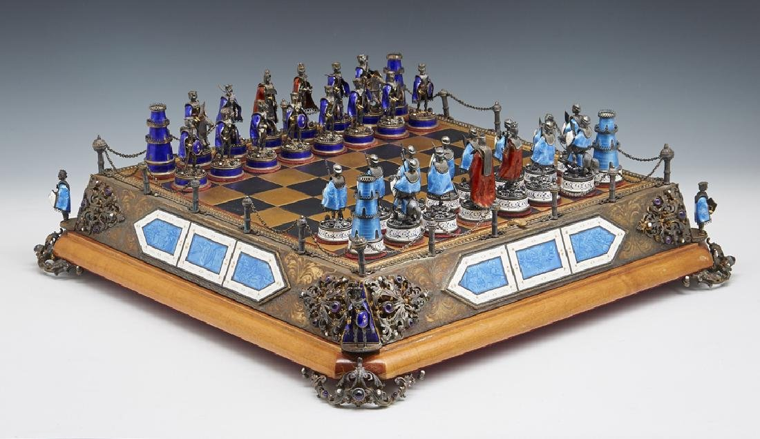 Austro-Hungarian parcel gilt silver and enamel chess