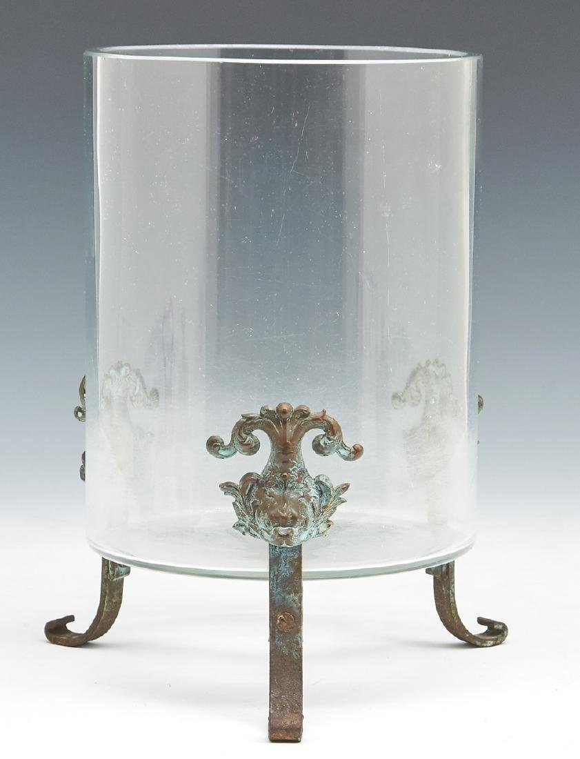 Victorian cylindrical fish bowl on bronze stand
