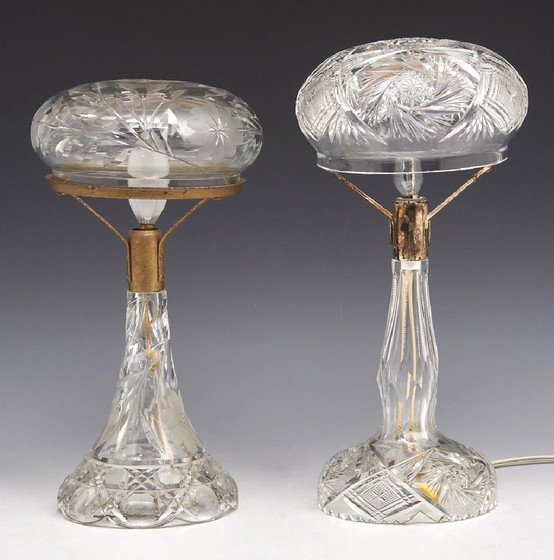 2 Cut crystal boudoir lamps