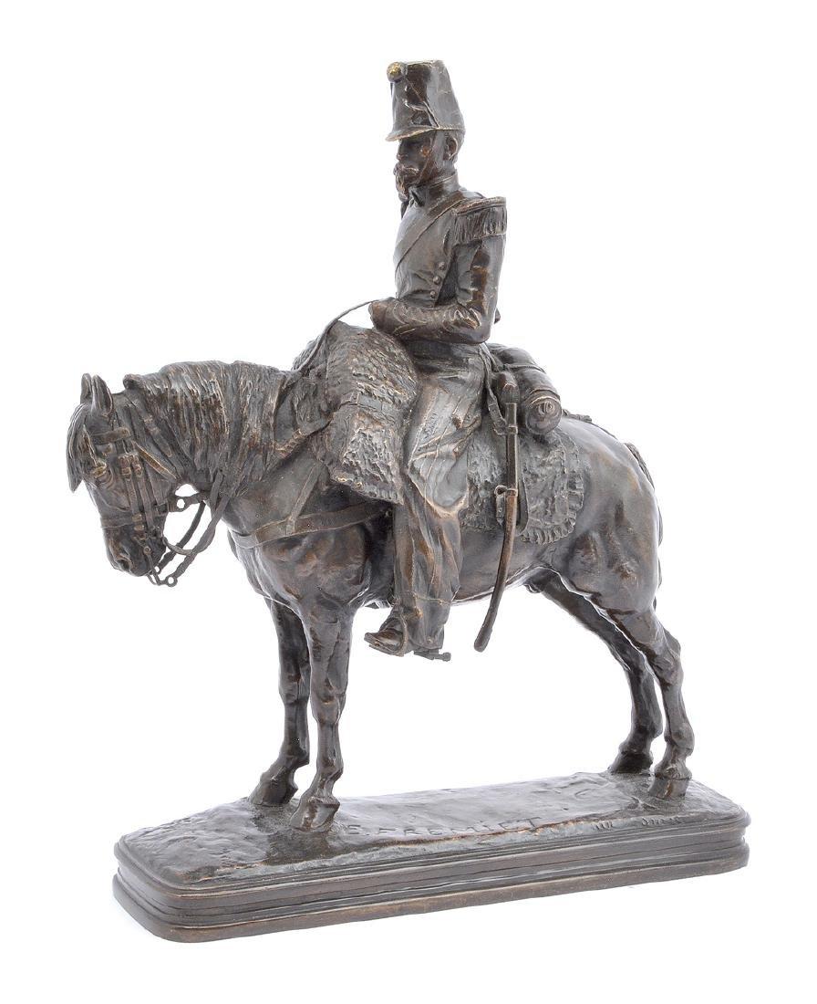 E. Fremiet bronze, military rider on horse