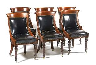 6 Victorian mahogany curved back chairs with black