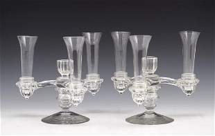 Art deco clear glass convertible epergne candlesticks