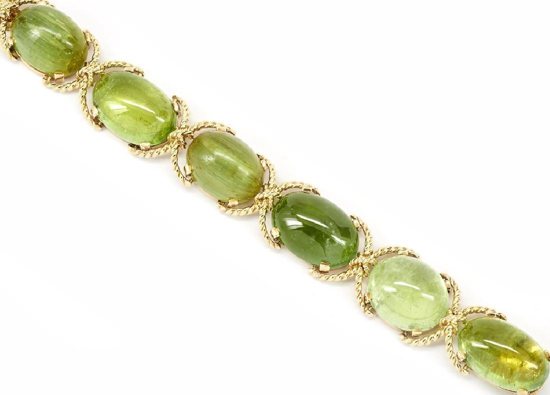 Verdura 14k Gold, Green Tourmaline Bracelet