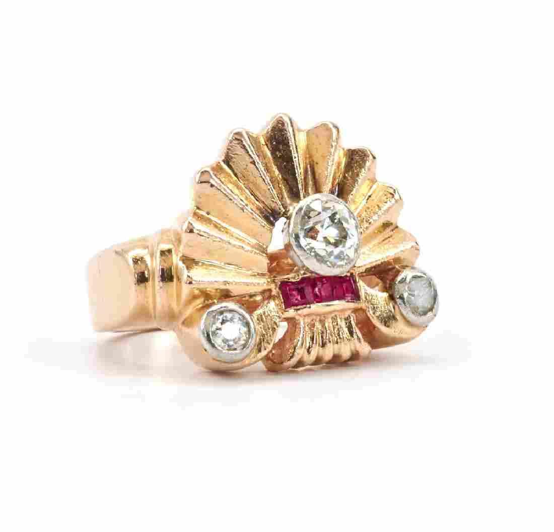 14k Gold, Art Deco Ruby & Diamond Ring