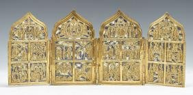 Russian Gilt & Enameled Bronze 4 Panel Travel Icon,