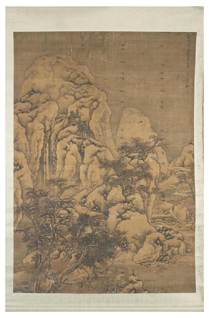 """Large Chinese scroll, mountain landscape, appx 87""""t"""